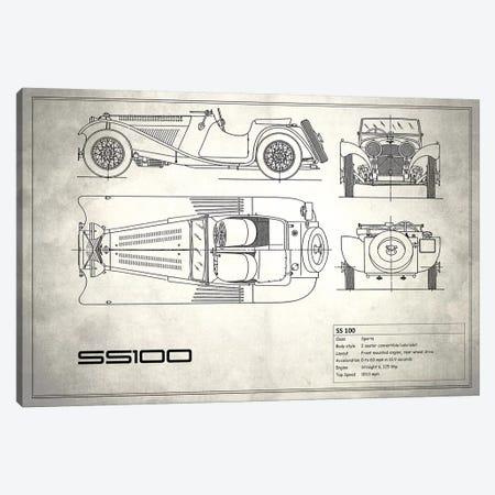 SS Cars Ltd. (Jaguar) 100 (Vintage Silver) Canvas Print #RGN236} by Mark Rogan Canvas Wall Art