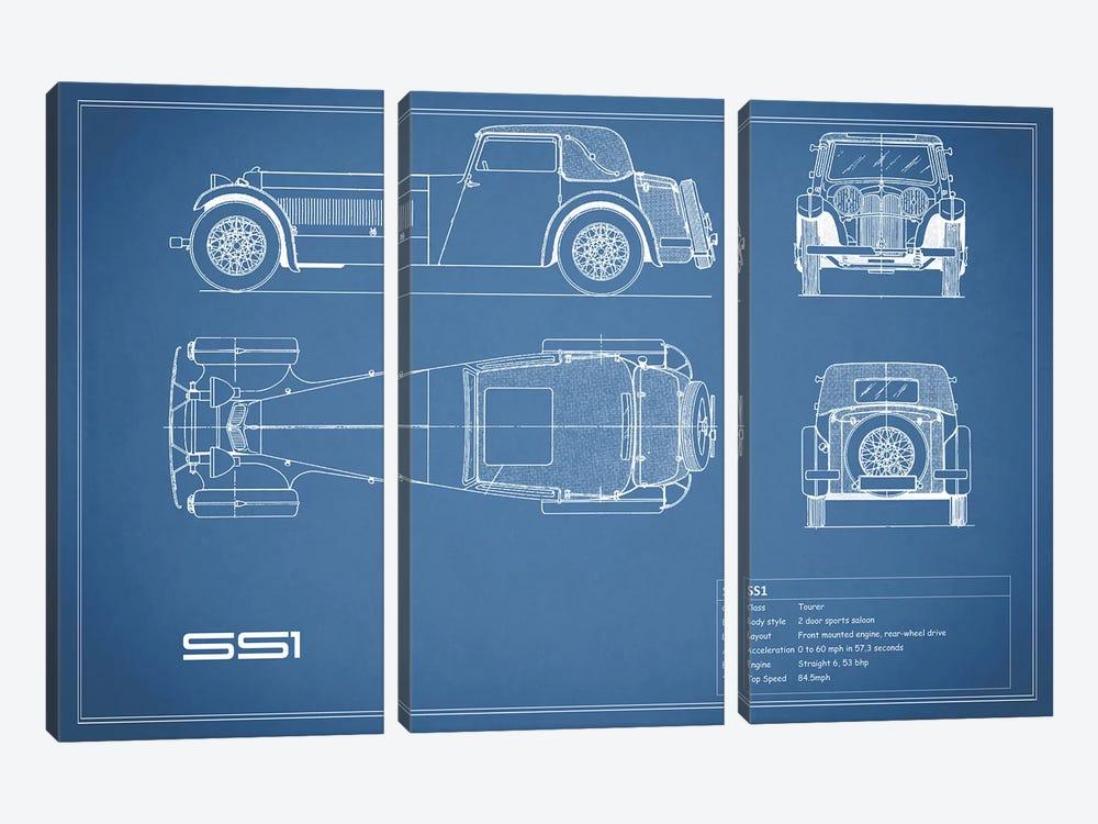 Swallow Coachbuilding Company (Jaguar) SS 1 (Blue) by Mark Rogan 3-piece Canvas Print
