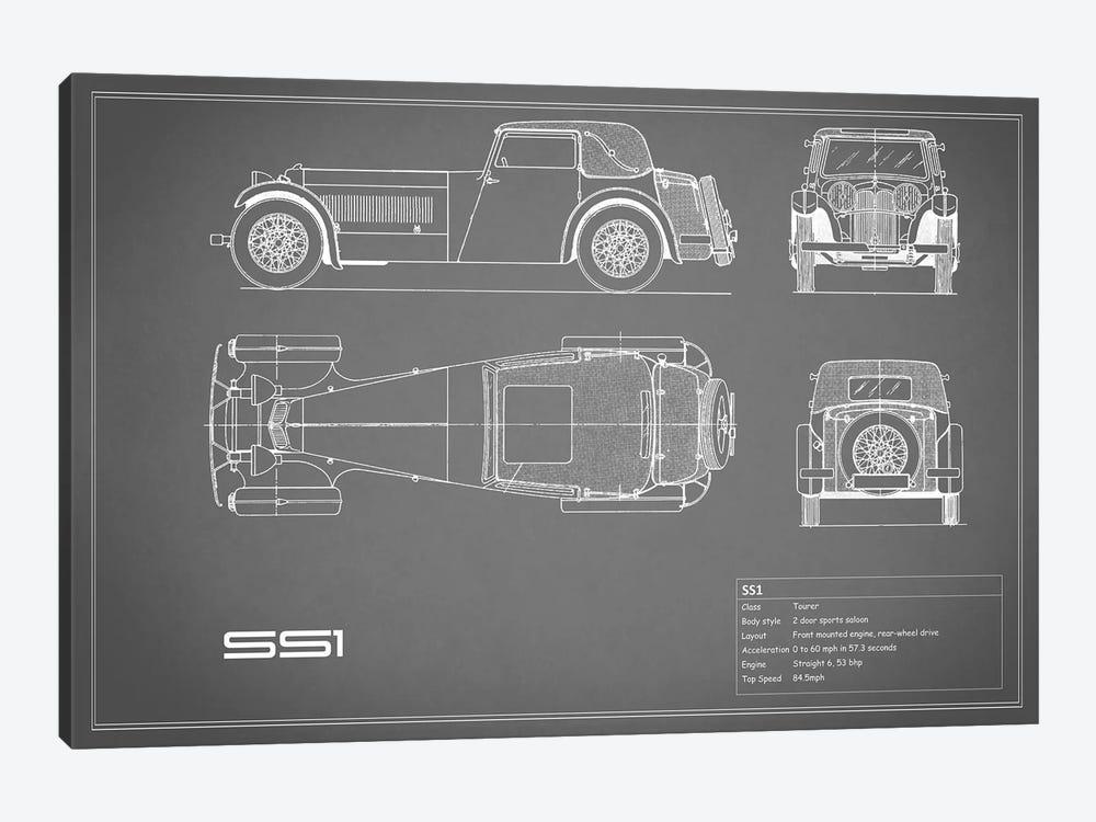 Swallow Coachbuilding Company (Jaguar) SS 1 (Grey) by Mark Rogan 1-piece Canvas Wall Art