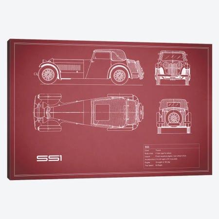 Swallow Coachbuilding Company (Jaguar) SS 1 (Maroon) Canvas Print #RGN240} by Mark Rogan Canvas Artwork