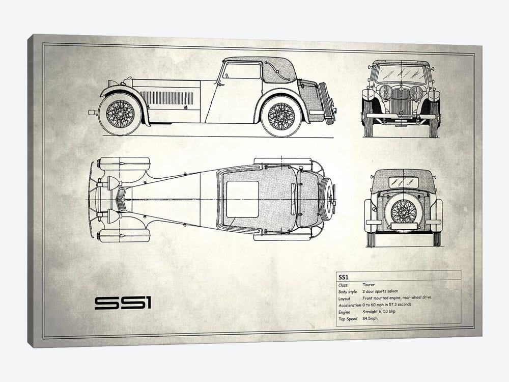 Swallow Coachbuilding Company (Jaguar) SS 1 (Vintage Silver) by Mark Rogan 1-piece Art Print