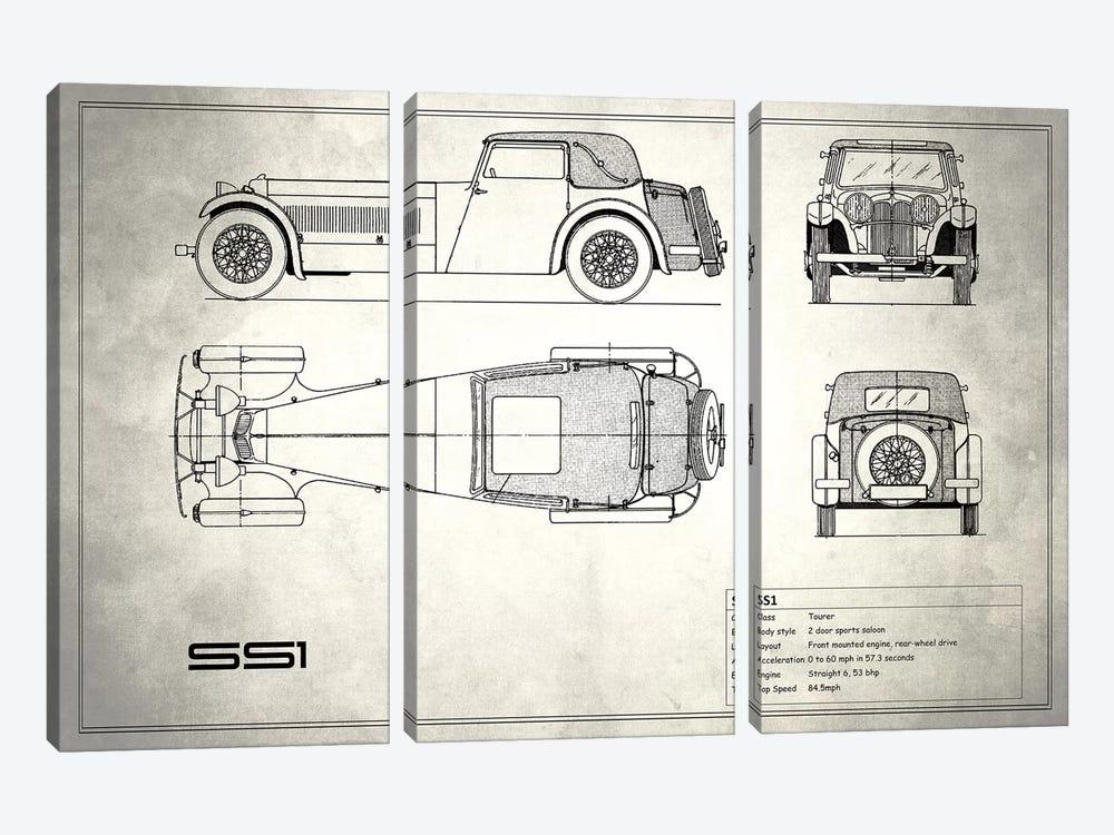 Swallow Coachbuilding Company (Jaguar) SS 1 (Vintage Silver) by Mark Rogan 3-piece Canvas Print