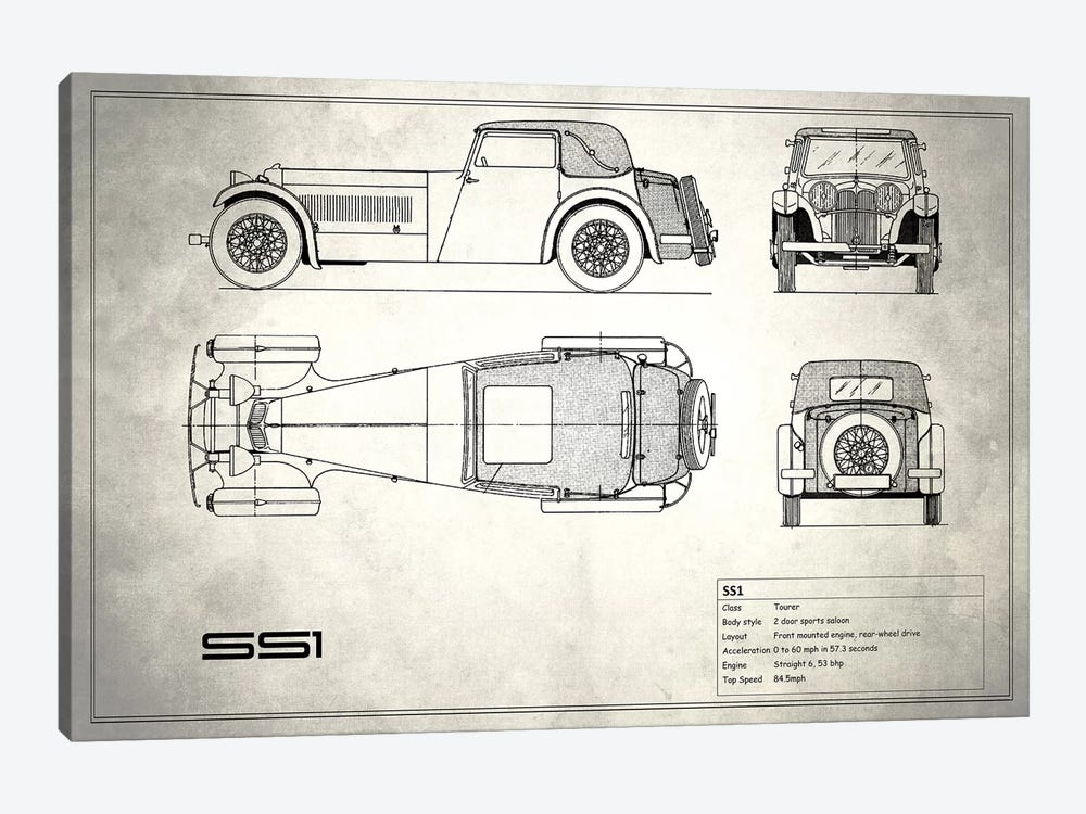 Swallow Coachbuilding Company (Jaguar) SS 1 (Vintage Silver) by Mark Rogan 1-piece Art Print