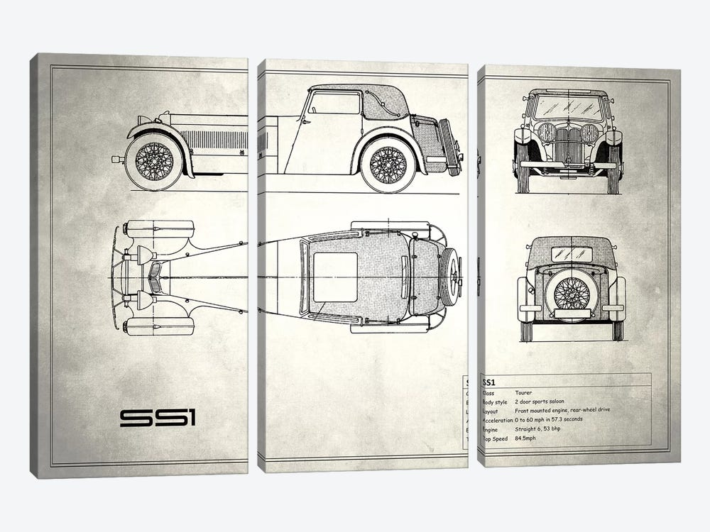 Swallow Coachbuilding Company (Jaguar) SS 1 (Vintage Silver) by Mark Rogan 3-piece Canvas Print