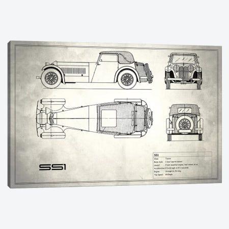 Swallow Coachbuilding Company (Jaguar) SS 1 (Vintage Silver) Canvas Print #RGN241} by Mark Rogan Canvas Artwork
