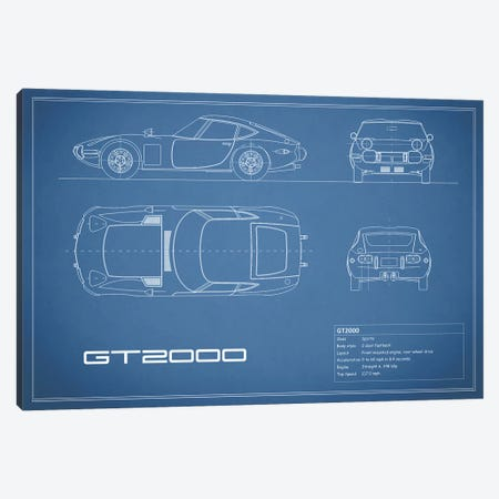 Toyota 2000GT (Blue) Canvas Print #RGN243} by Mark Rogan Canvas Artwork