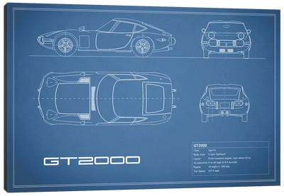 Toyota 2000GT (Blue) Canvas Print #RGN243
