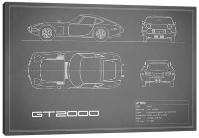 Toyota 2000GT (Grey) Canvas Print #RGN244