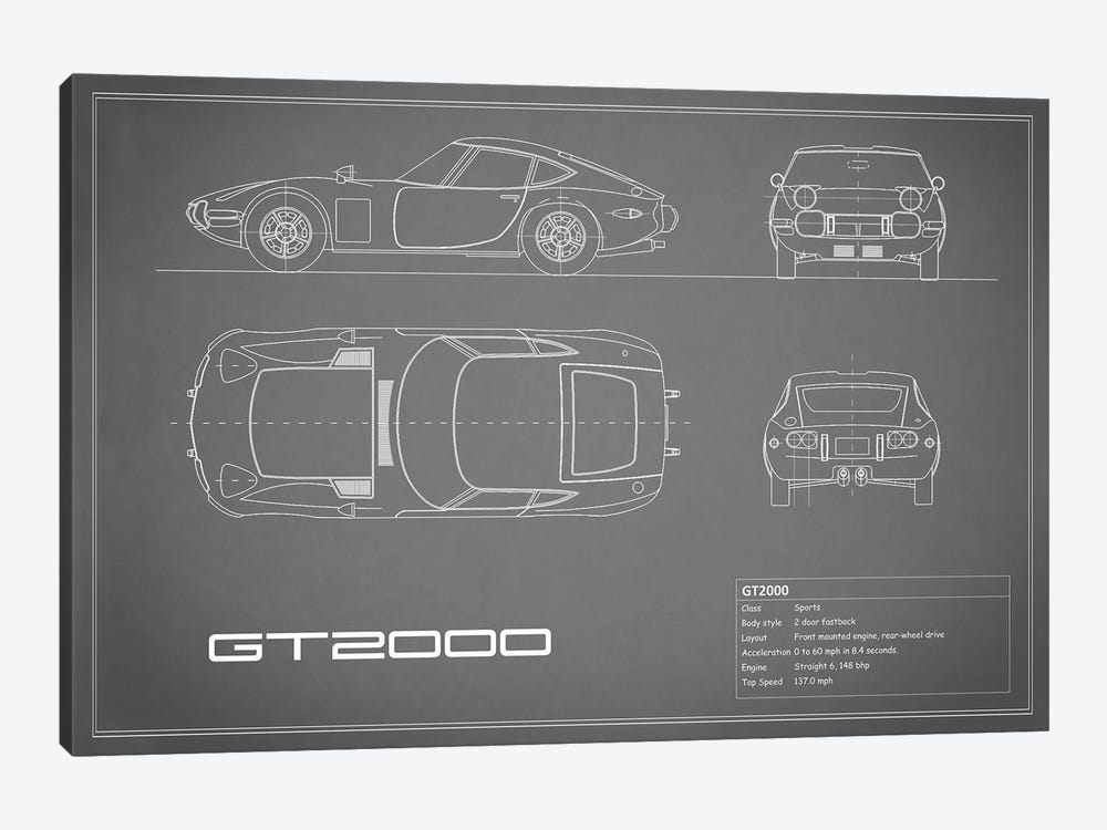 Toyota 2000GT (Grey) by Mark Rogan 1-piece Canvas Artwork