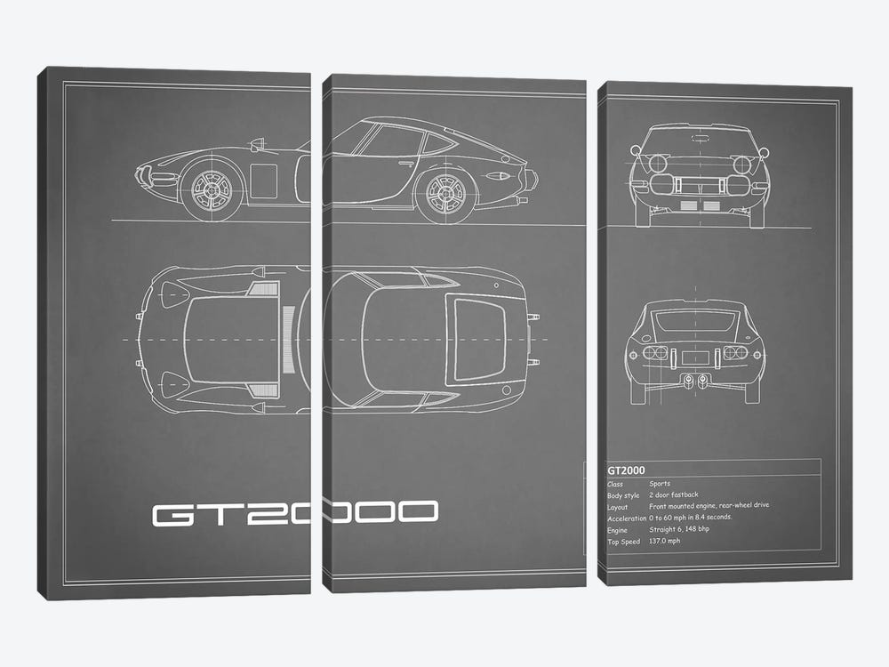 Toyota 2000GT (Grey) by Mark Rogan 3-piece Canvas Art