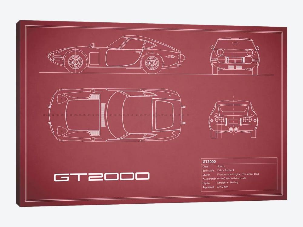 Toyota 2000GT (Maroon) by Mark Rogan 1-piece Canvas Print
