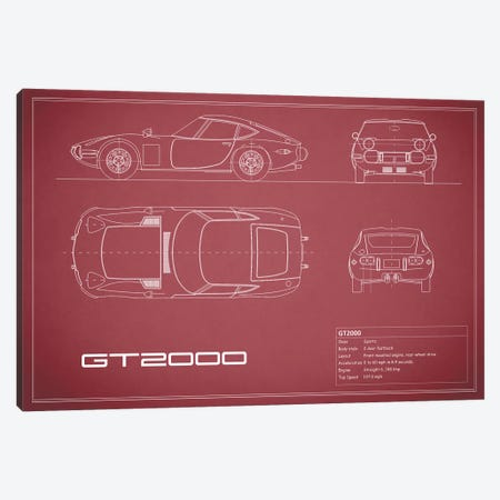 Toyota 2000GT (Maroon) Canvas Print #RGN245} by Mark Rogan Art Print