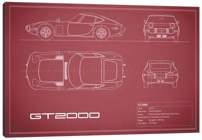 Toyota 2000GT (Maroon) Canvas Print #RGN245