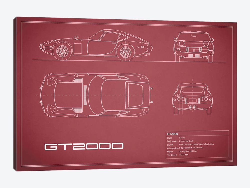 Toyota 2000GT (Maroon) by Mark Rogan 1-piece Canvas Print