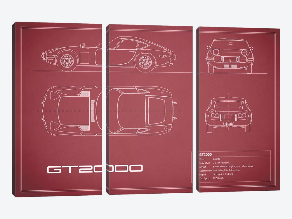 Toyota 2000GT (Maroon) by Mark Rogan 3-piece Canvas Art Print