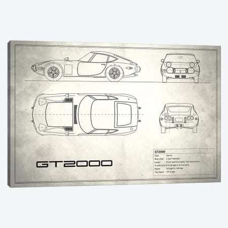 Toyota 2000GT (Vintage Silver) Canvas Print #RGN246} by Mark Rogan Art Print