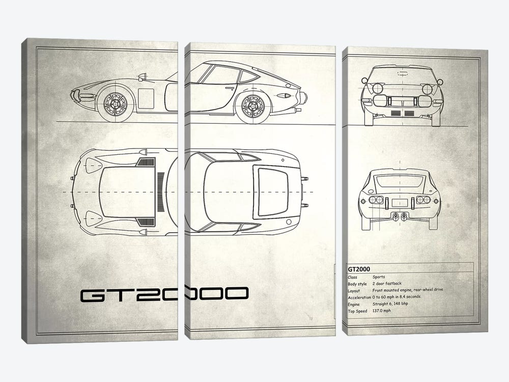 Toyota 2000GT (Vintage Silver) by Mark Rogan 3-piece Canvas Wall Art
