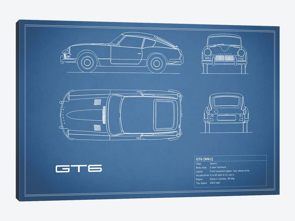 Triumph GT6 Mark I (Blue) by Mark Rogan 1-piece Canvas Wall Art