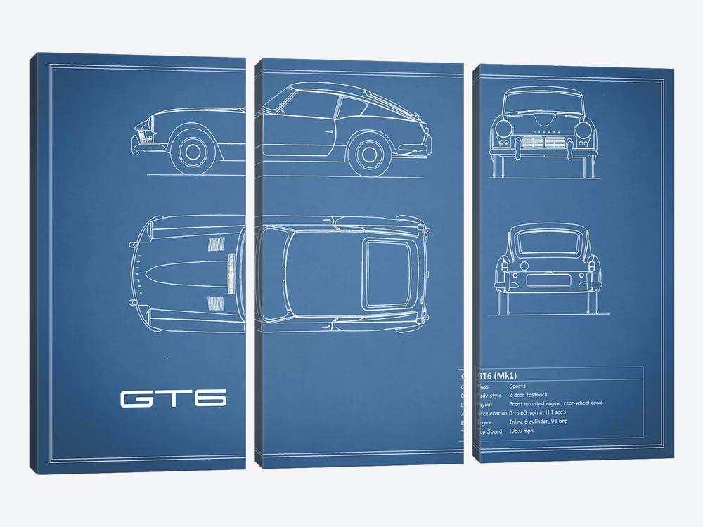 Triumph GT6 Mark I (Blue) by Mark Rogan 3-piece Canvas Wall Art
