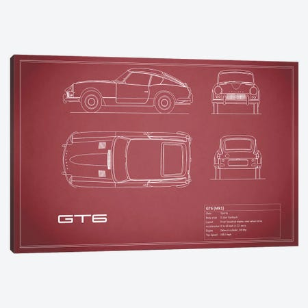 Triumph GT6 Mark I (Maroon) Canvas Print #RGN249} by Mark Rogan Canvas Artwork