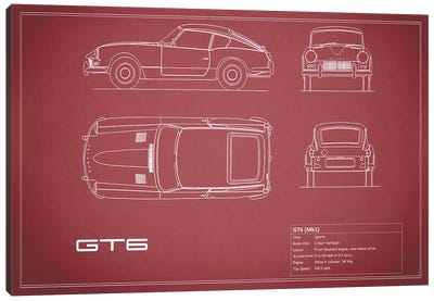 Triumph GT6 Mark I (Maroon) Canvas Art Print
