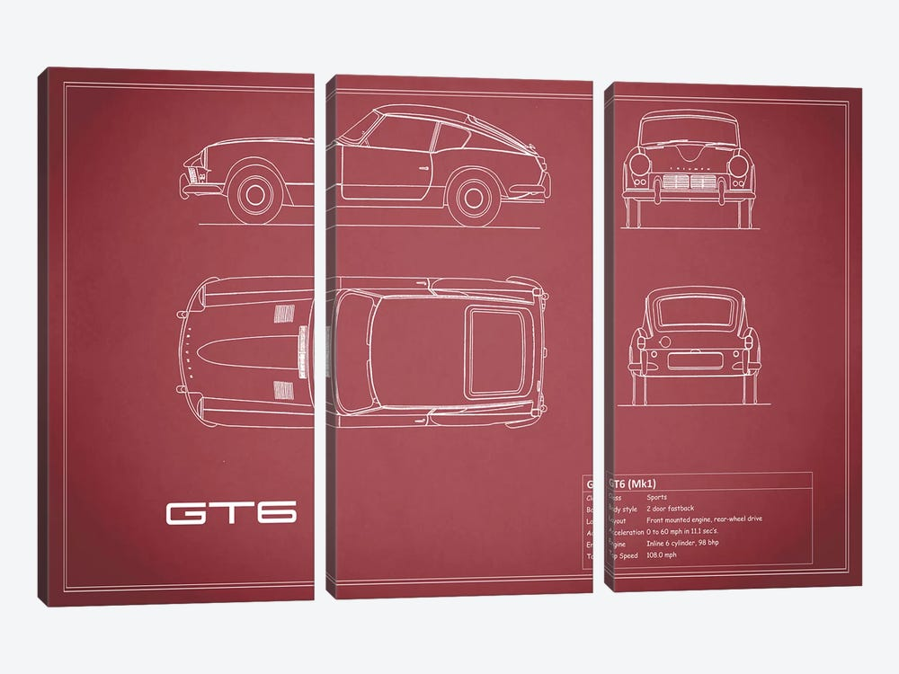 Triumph GT6 Mark I (Maroon) by Mark Rogan 3-piece Canvas Art Print