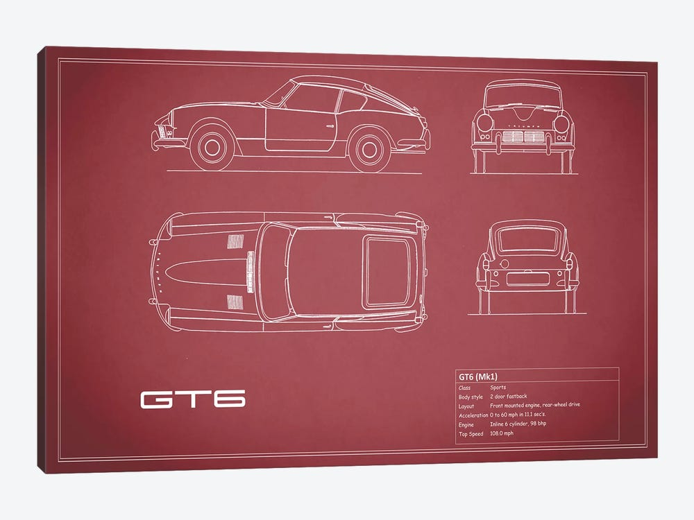 Triumph GT6 Mark I (Maroon) by Mark Rogan 1-piece Art Print