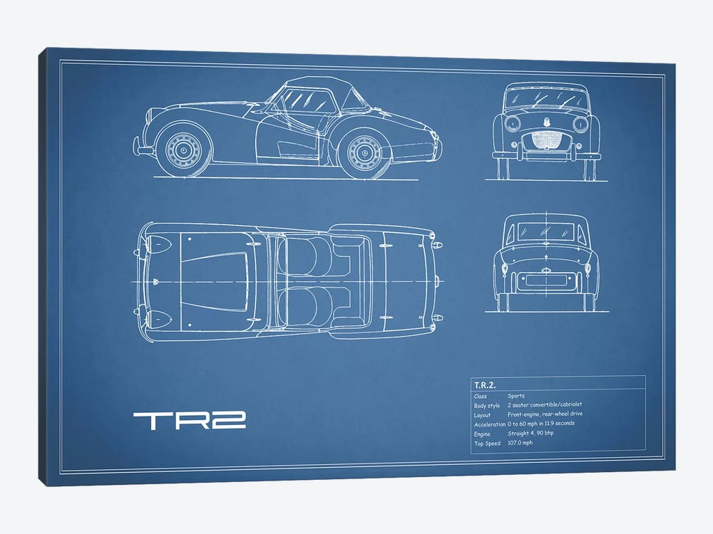 Triumph TR2 (Blue) by Mark Rogan 1-piece Canvas Art