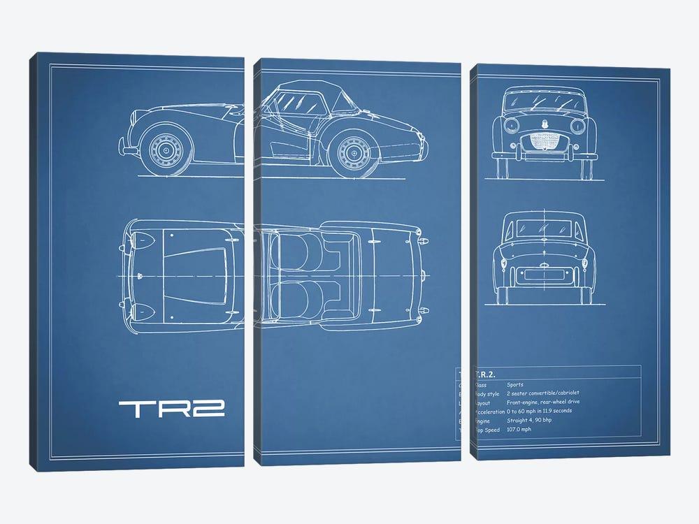Triumph TR2 (Blue) by Mark Rogan 3-piece Canvas Artwork