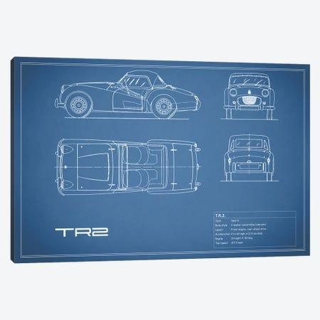 Triumph TR2 (Blue) Canvas Print #RGN251} by Mark Rogan Canvas Art Print