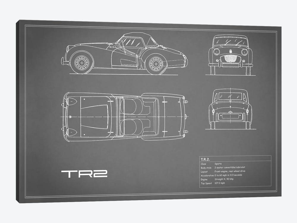 Triumph TR2 (Grey) by Mark Rogan 1-piece Canvas Art Print