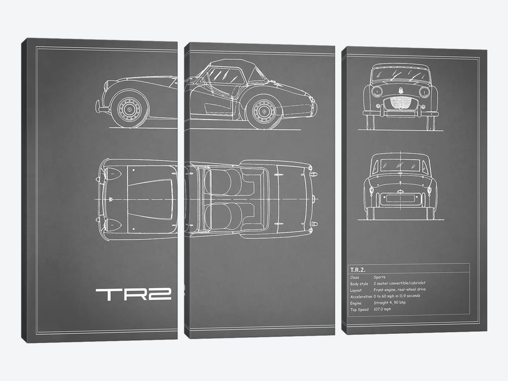 Triumph TR2 (Grey) by Mark Rogan 3-piece Canvas Art Print
