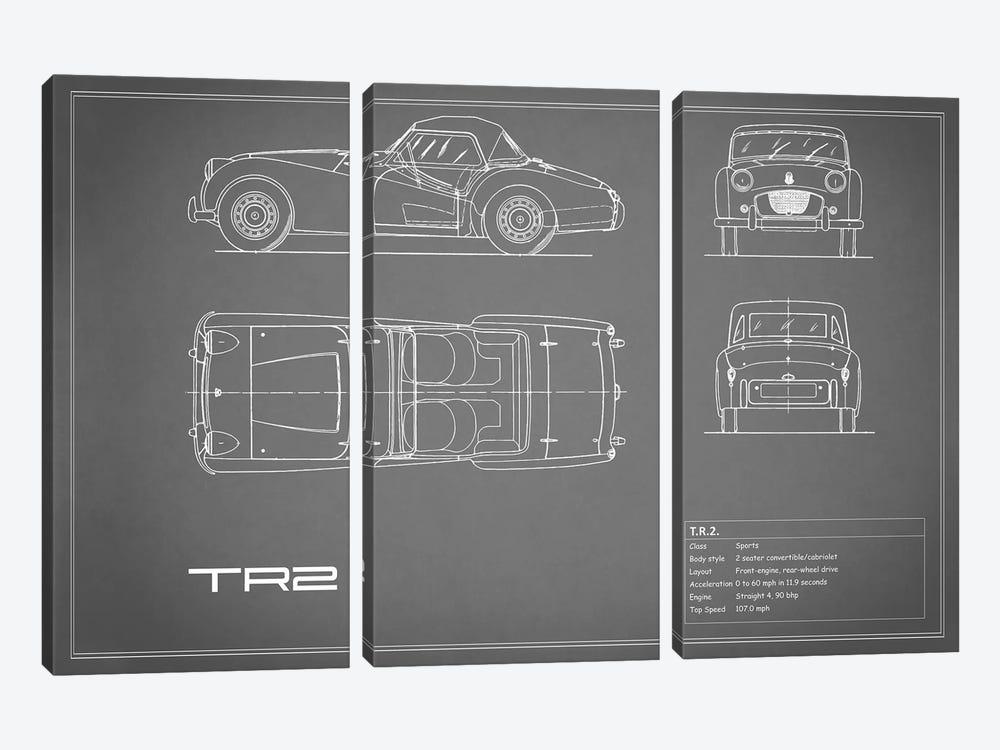 Triumph TR2 (Grey) by Mark Rogan 3-piece Canvas Art Print