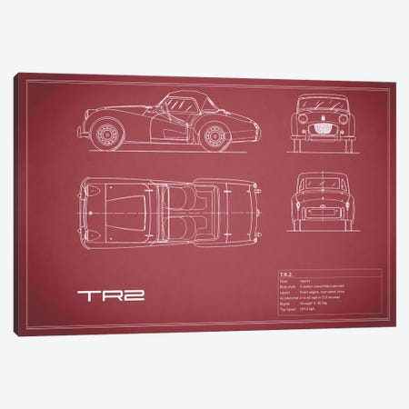 Triumph TR2 (Maroon) Canvas Print #RGN253} by Mark Rogan Canvas Print