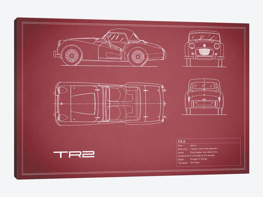Triumph TR2 (Maroon) by Mark Rogan 1-piece Canvas Artwork
