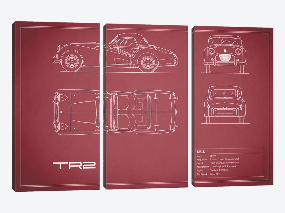 Triumph TR2 (Maroon) by Mark Rogan 3-piece Canvas Art