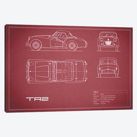 Triumph TR2 (Maroon) Canvas Print #RGN253} by Mark Rogan Canvas Print