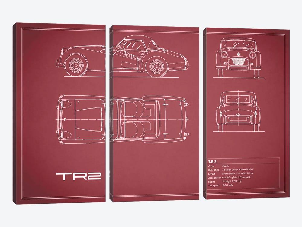 Triumph TR2 (Maroon) by Mark Rogan 3-piece Canvas Art