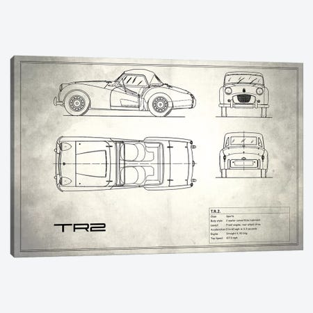Triumph TR2 (Vintage Silver) Canvas Print #RGN254} by Mark Rogan Canvas Wall Art