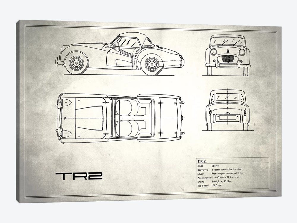 Triumph TR2 (Vintage Silver) by Mark Rogan 1-piece Canvas Art Print