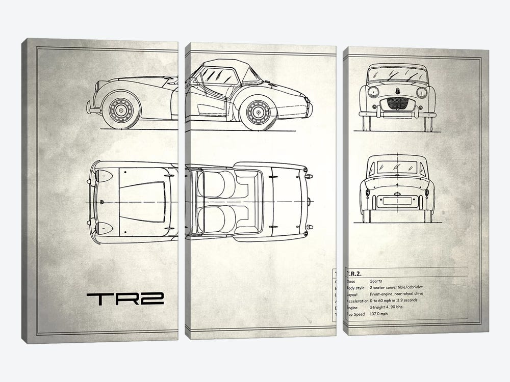 Triumph TR2 (Vintage Silver) by Mark Rogan 3-piece Canvas Art Print