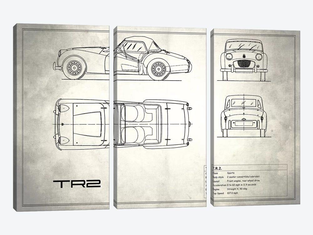 Triumph TR2 (Vintage Silver) by Mark Rogan 3-piece Canvas Art Print