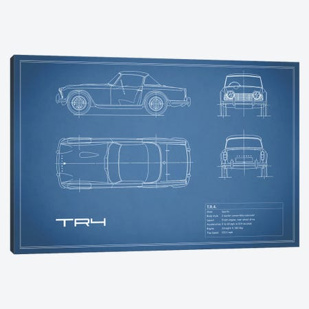 Triumph TR4 (Blue) Canvas Print #RGN255} by Mark Rogan Canvas Wall Art