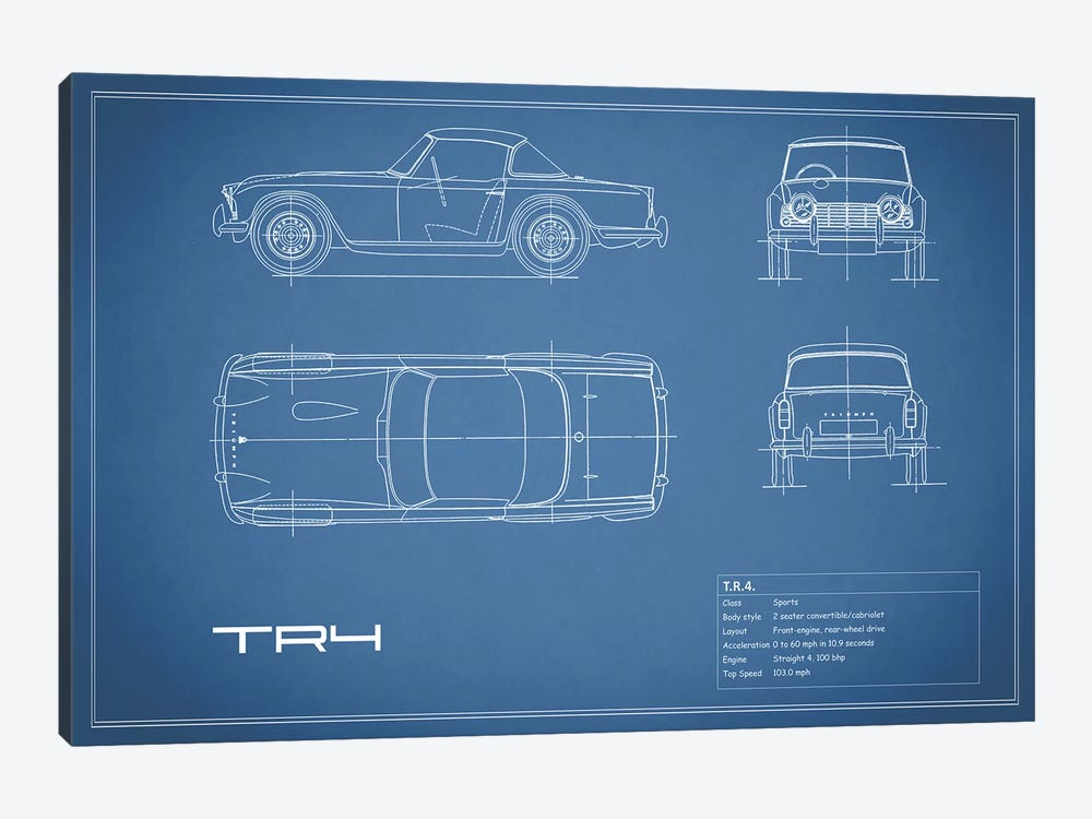 Triumph TR4 (Blue) by Mark Rogan 1-piece Canvas Art