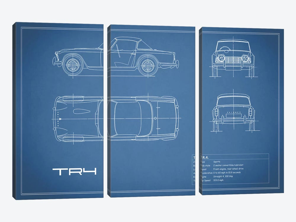 Triumph TR4 (Blue) by Mark Rogan 3-piece Canvas Wall Art