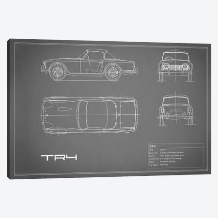 Triumph TR4 (Grey) Canvas Print #RGN256} by Mark Rogan Canvas Wall Art