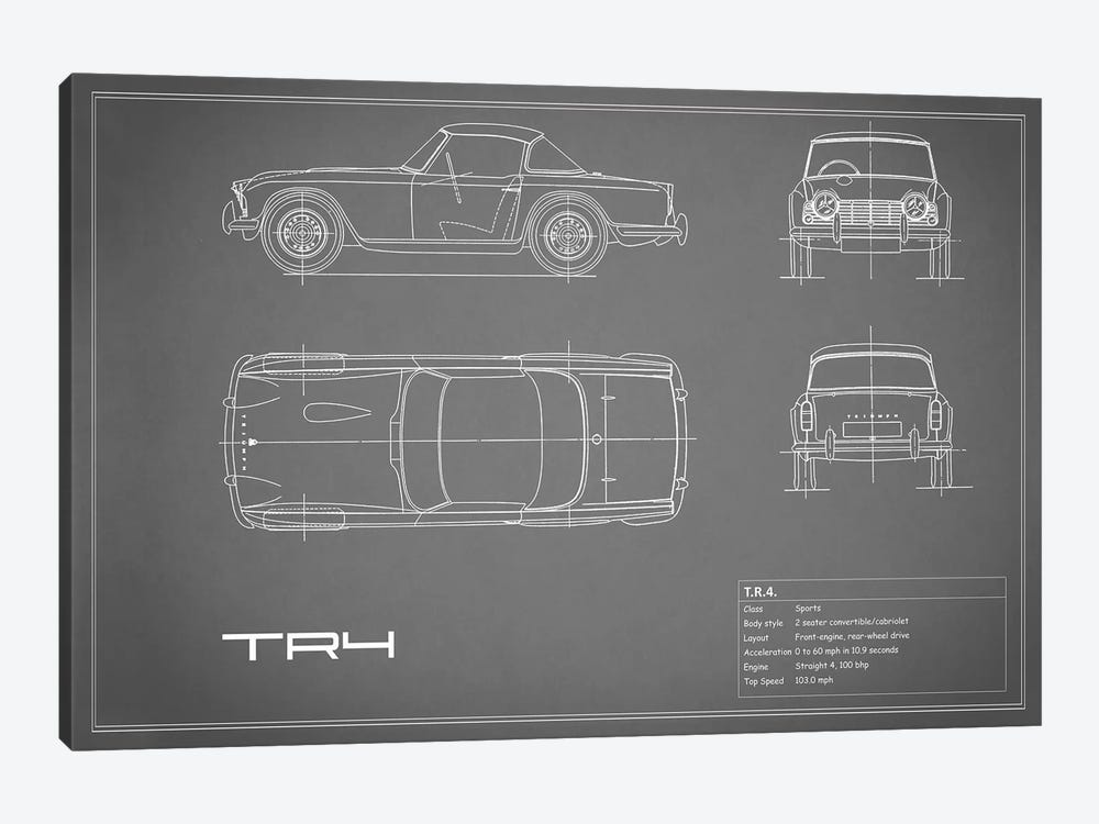Triumph TR4 (Grey) by Mark Rogan 1-piece Art Print