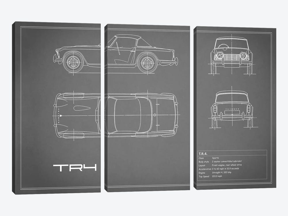 Triumph TR4 (Grey) by Mark Rogan 3-piece Art Print