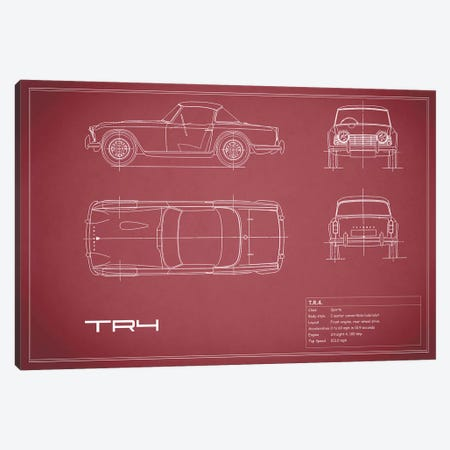 Triumph TR4 (Maroon) Canvas Print #RGN257} by Mark Rogan Canvas Art