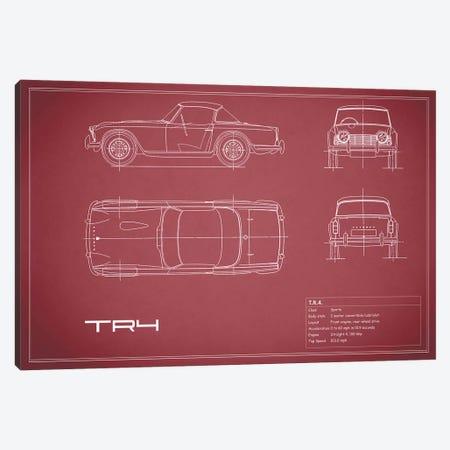 Triumph TR4 (Maroon) Canvas Print #RGN257} by Mark Rogan Canvas Art